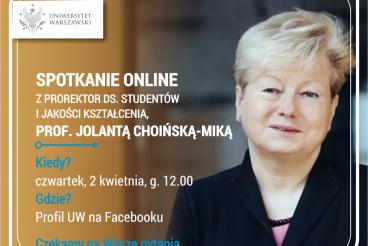 Spotkanie online z panią prorektor, prof. J. Choińską-Miką